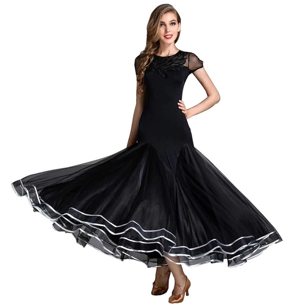 大人気新作 大人の半袖刺繍ネックラインモダンダンススカート ブラック、ドレス黒の女性 B07H2Z9SN4 XL ブラック XL, 北秋田郡:79c8a70a --- west-llc.com