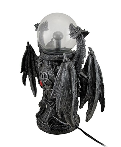 Zeckos Resin Statues Twin Guardian Dragons Statue Saurian Plasma Gazing Ball 9 X 12 X 5 Inches Black
