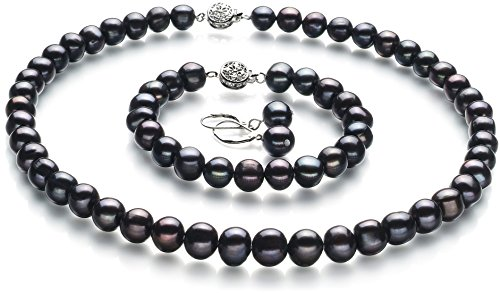 Pearl Set. Kaitlyn Black 8-9mm A Quality Freshwater Cultured Pearl Set-18 in Princess length. #freshwaterpearls