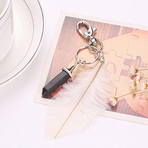 Gotd Feather Keychain Pendant Bag Handbag Ring Car Key Pendant (White) ()