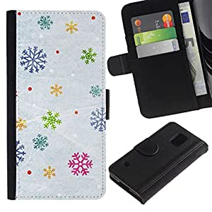 All Phone Most Case / Oferta Especial Cáscara Funda de cuero Monedero Cubierta de proteccion Caso / Wallet Case for Samsung Galaxy S5 V SM-G900 // Snow Winter Gift Christmas