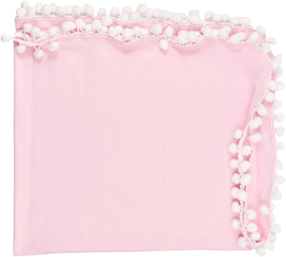 as described Pink Baby Muslin Swaddle Blankets Pom Pom Swaddle Wrap Newborn Photography Blanket