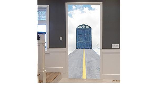 Suuyar Puerta Del Cielo Azul Nube Blanca Baño Creativo Baño De Vinilo Etiqueta De La Puerta Puertas A Prueba De Agua Pegatinas Decoración Para El Hogar Sala De Estar Dormitorio Dormitorio: Amazon.es: