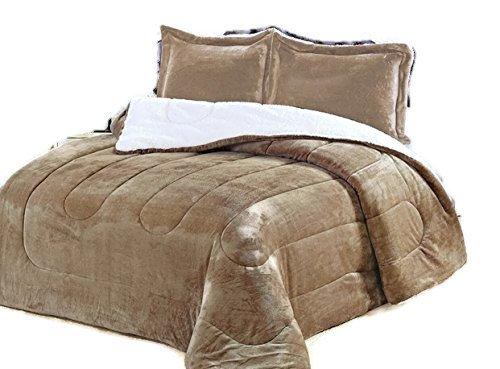 Down Alternative Comforter, micromink flannel sherpa Comforter, Hypoallergenic, duvet over-stuffed insert, plush goose down alt borrego , bedding comforter, Allergen Barrier. Bed blankets. By Hiyoko
