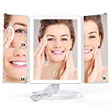 Cheap iSPECLE Lighted Makeup Mirror, Trifold LED Lighted Vanity Mirror with 180 Degree Rotation Touch Screen, 1 X 2X 3X Magnifications Brightness Table Countertop Cosmetic Make Up Mirror, White