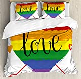 Pride Decorations Duvet Cover Set King Size by Ambesonne, Hand Drawn Rainbow Heart with Arrows and Doodles Love Word Homosexuality, Decorative 3 Piece Bedding Set with 2 Pillow Shams, Multicolor