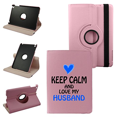 Ipad Air Retina 5th Generation Keep calm and Love My Husband Pink Cover, Synthetic Leather Rotating Ipad Air Case: 360 Degrees Multi-angle Vertical and Horizontal Stand with Strap (Pink)