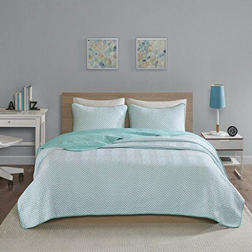 Intelligent Design Lizzie Twin/Twin XL Quilt Bedding Set - Aqua, Cheveron – 2 Piece Teen Girl Boy Bedding Quilt Coverlets – Cotton Jersey Bed Quilts Quilted Coverlet (Quilted Jersey)