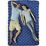 KEEGOP Camping Beds for Adults, Double Camping Mat for Tent Backpacking, Thick Camping Mattress Queen Sleeping Pad Waterproof with Upgraded Foot Pump (Dark Blue)