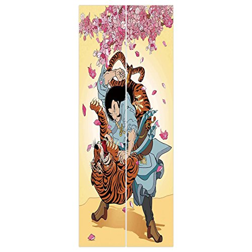 Samurai Half Doors - 3d Door Wall Mural Wallpaper Stickers [ Japanese,Battle of Brave Samurai and Tiger Turn into Floral Sakura Cherry Blossoms Cartoon Print,Multi ] Mural Door Wall Stickers Wallpaper Mural DIY Home Decor