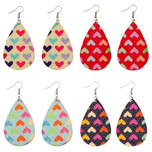 Dangle Leather (Leather Earrings Heart Pattern Lightweight Teardrop Dangle Handmade Earrings FOR Girls 4 Pails)