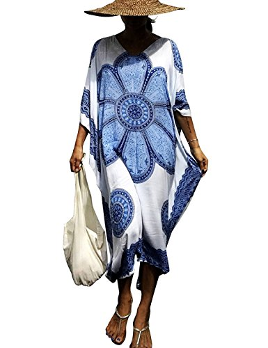 Ethnic Caftan - Ailunsnika Women Fashion Boho Ethnic Floral Print Kaftan Dresses Bathing Suits Cover up Swimsuit Holiday Beach Long Maxi Dress