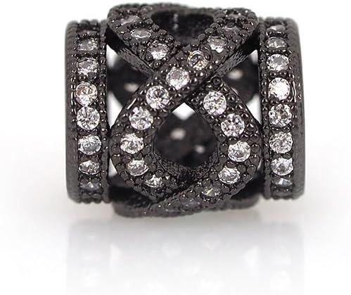 Newest 10pcs silver CZ big hole spacer beads fit Charm European Bracelet DIY