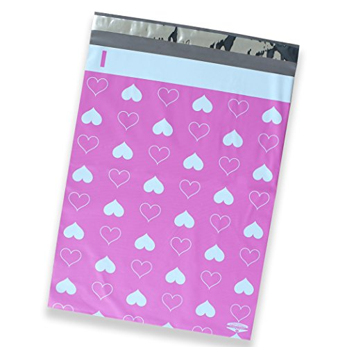 50 Pack of Mighty Gadget (R) Pink Hearts Designer Poly Mailers - 10x13 inch Shipping Envelopes with 2.35 mil Thickness