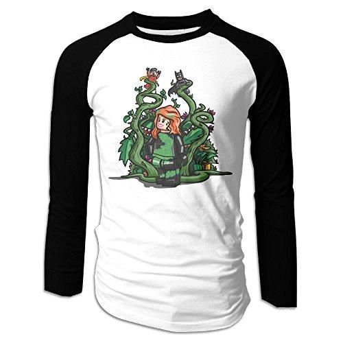 Creamfly Mens Poison Ivy Girl Long Sleeve Raglan Baseball Tshirt -