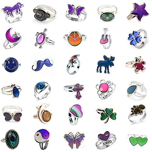 Jiali Q 10pcs Mixed Mood Ring Change Color Ring Adjustable Size Temperature Finger Ring -