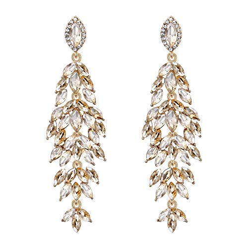 - BriLove Women's Wedding Bridal Crystal Multi Marquise-Shape Leaf Cluster Chandelier Dangle Earrings Champagne Gold-Toned