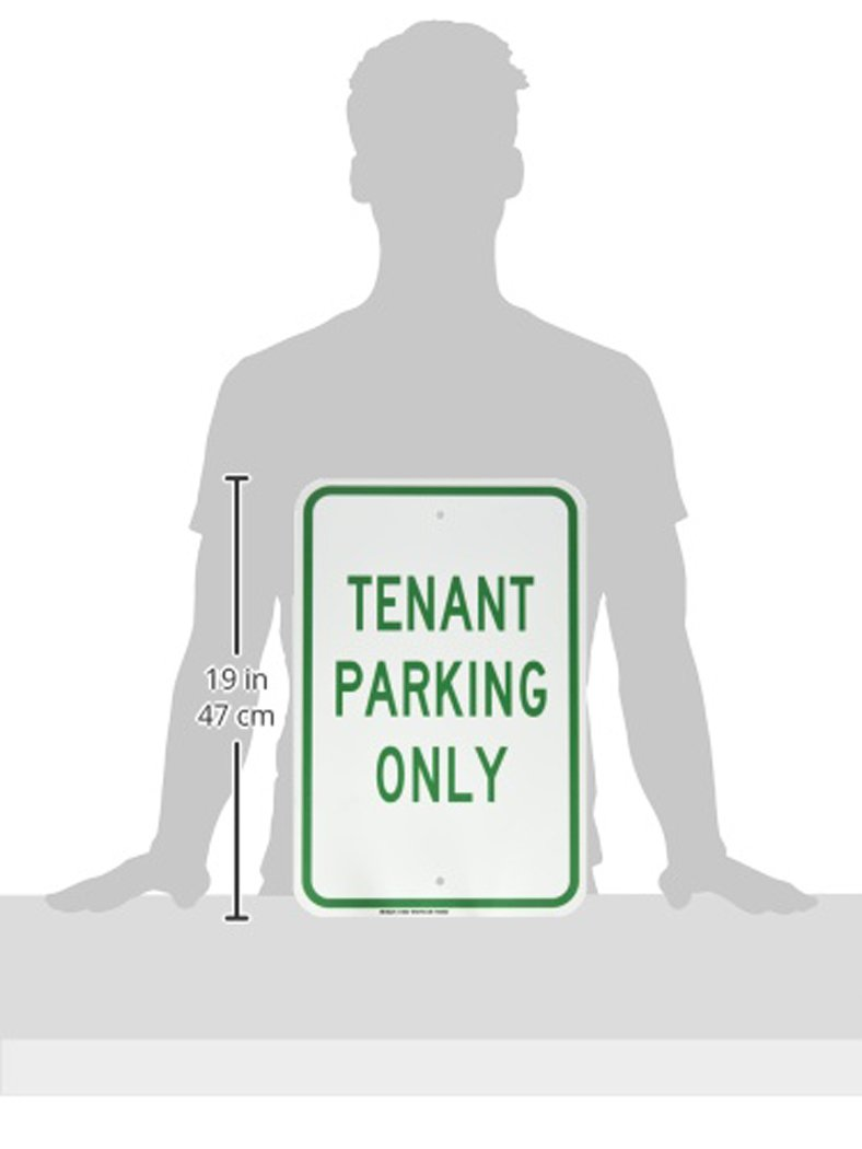 18 Height LegendTenant Parking Only Green on White 12 Width Brady 129667 Traffic Control Sign