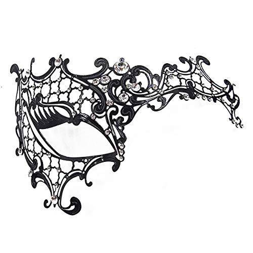 (Masquerade Mask for Women 2 Pack Shiny Metal Rhinestone Mask Party Porm Ball Mask Free Lace Mask Costume)