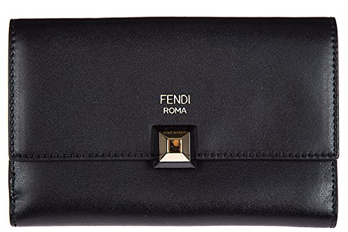 Fendi women's genuine leather wallet credit card trifold continental slim black