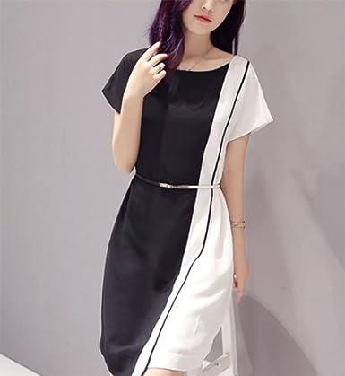 Huateng Abiti Colorati da Donna in Bianco e Nero adce8da35c0