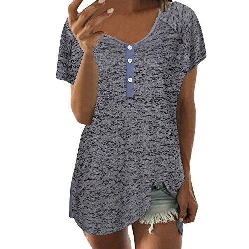 HGWXX7 Women Casual Short Sleeve Button Plus Size Cotton Blouse Tops T Shirt (XXL, Dark Gray)