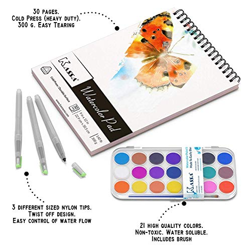 Kassa Watercolor Set – Painting Kit for Kids & Adults – Bundle Includes Water Brush Pen (3 Assorted Sizes), Water Color…