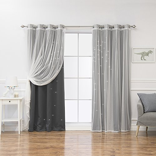 Best Home Fashion Mix & Match Tulle & Star Cut Out Blackout Curtains - Dk.Grey - 52