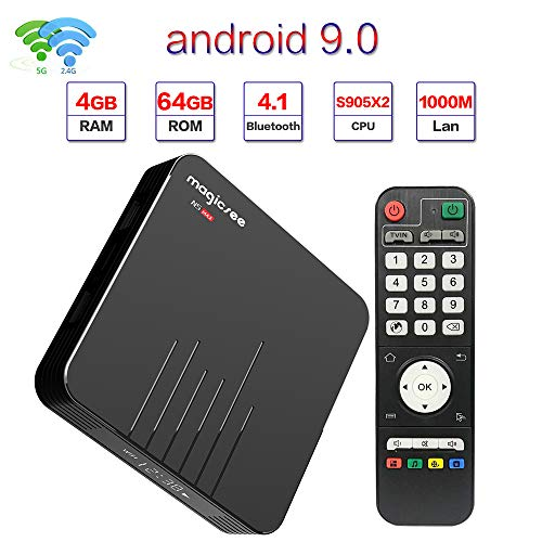 Magicsee N5 Max Android 9.0 TV Box 4GB RAM 64GB ROM Amlogic S905X3 2.4GHz 5GHz Dual WiFi Smart TV Box Quad Core 64 Bits…