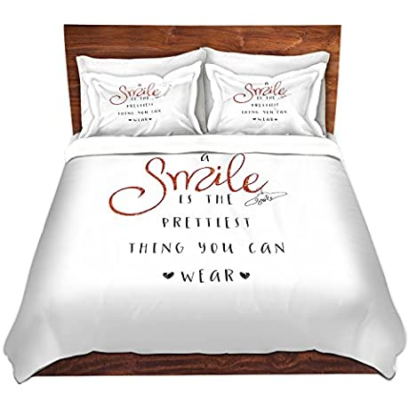 Duvet Cover Brushed Twill Twin Queen King SETs DiaNoche Designs Zara Martina A Smile Orange Sparkle
