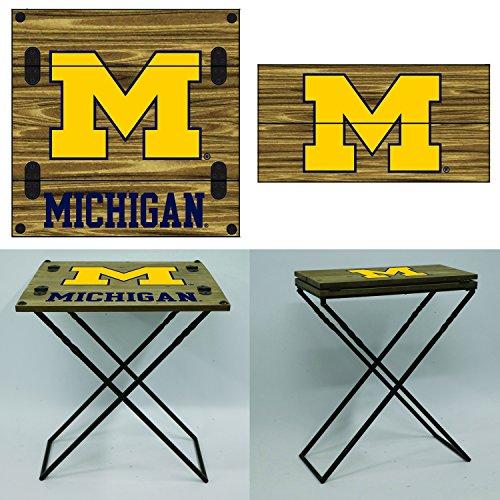Team Sports America University of Michigan Folding Armchair Table