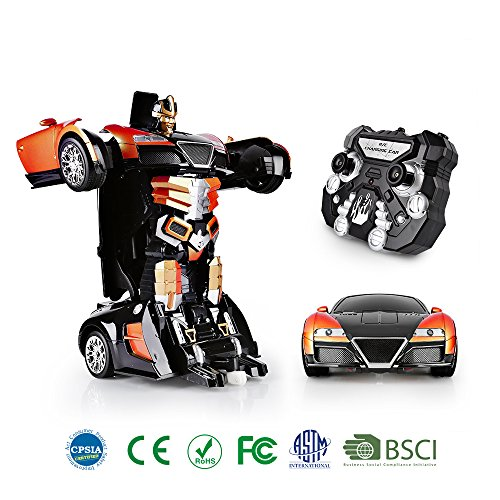SainSmart Jr. Transformation Car Toy Bugatti Car Robot for Kids, RC Car One Button Transforms into Robot, Remote Control Transforming Robot (Orange)