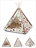 Stock Show 1Pc Removable Washable Wood Frame Canvas Tent Teepee Pet Mat Bed House Hut Portable Pet Supplies for Dog/Puppy/Cat/Kitty/Kitten