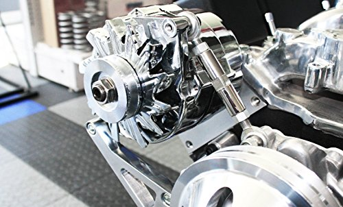 SBC Chevy Polished Aluminum Alternator Bracket Long Water Pump LWP Passenger (Alternator Adjustment Bracket)