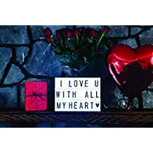 Super Bright Cinema Lightbox | 11 Tiles a Line/not the usual 8 tiles a line | 200 Tiles: 52 Celebration/Emoji Tiles,90 Letters,20 Black & 20 Red Numbers + 18 Symbols w/1 AC/USB Power Cable w/ adaptor