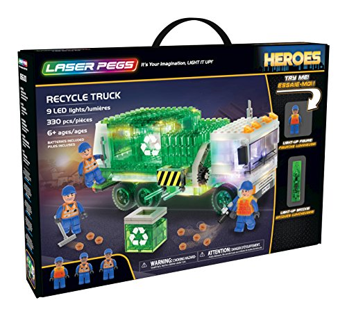 Laser Pegs Recycle Truck Light-Up Building Block Playset (330 Piece) The First Lighted Construction Toy to Ignite Your Child's Creativity; It's Your Imagination, Light It Up (Knex Truck)