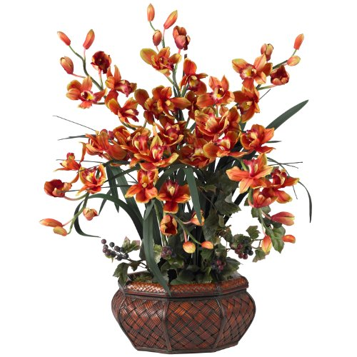 Nearly Natural Large Cymbidium Silk Flower Arrangement In Burgundy 1199-BG