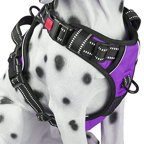 - PoyPet No Pull Dog Harness, Reflective Vest Harness with 3 Buckles and Easy Control Handle(Purple,S)