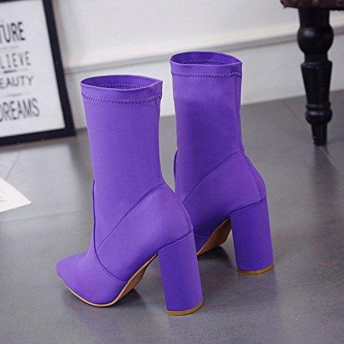 alto zapatos y puntiagudos mediano áspero elásticos botas tacón de tacón Tubo medio alto Thirty seven botas botas de Donyyyy elásticas Onpvwx
