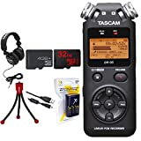 Tascam Portable Digital Recorder (DR-05) w/Bundle + 32GB Micro SD Card + Xit AA Charger (100-240v) w/ 4 2950mah AA Batteries + Flexible Mini Table-top Tripod + Technical Pro Closed-Back Headphones