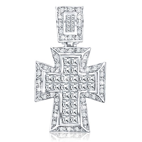 Sterling Siver .925 Large Cross Pendant with Fancy Princess Cubic Zirconia Stone(s), Large Bail to Accommodate Wide Chains, Hand Polished, Platinum Plated, Appears Identical to Platinum or White Gold
