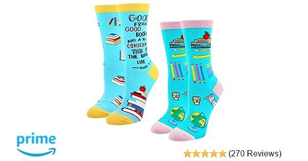 2265e6eb86 Women s Crazy Funny Teacher Crew Socks Novelty Book Lover School Dress Socks