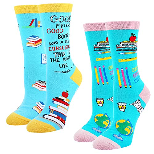 Women's Crazy Funny Teacher Crew Socks Novelty Book Lover School Dress Socks, 2 Pack with Gift Box