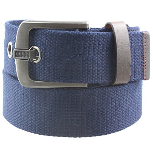 Samtree Canvas Web Belts for Men Women,Braided Solid Color Hole Belt(Blue)