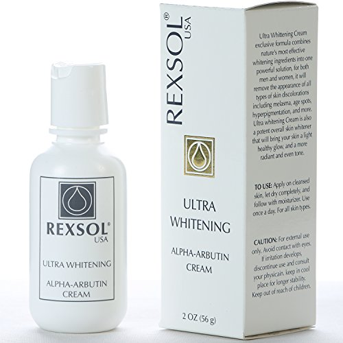REXSOL Ultra Whitening Alpha Arbutin Cream | With Vitamin C | Fade Dark Spots, Freckles, Hyper-pigmentation, Melasma, Discolorations | For Body, Face, Neck, Bikini, Sensitive Areas - 2 oz