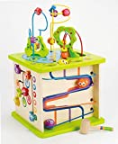 Country Critters Wooden Activity Play Cube by Hape   Wooden Learning Puzzle Toy for Toddlers, 5-Sided Activity Center with Animal Friends, Shapes, Mazes, Wooden Balls, Shape Sorter Blocks and More