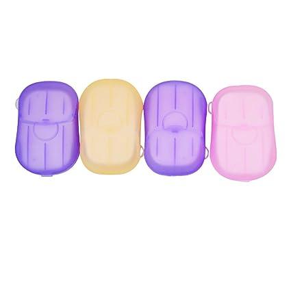 AISI 4 cajas Mini Viajes portátil de papel Jabón Jabón Discos Jabón Hojas desechables de jabón