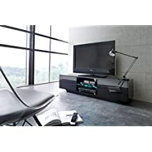 SWING TV stand / High gloss Black finish with Black Glass top panel / Modern TV cabinet with RGB LED lighting system