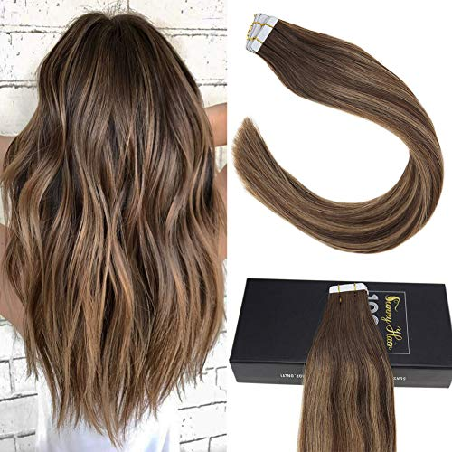 Sunny Seamless Tape in Hair Extensions Human Hair Ombre Dark Brown Highlight with Caramel Blonde Remy Human Hair Extensions Tape in 20PCS 50G