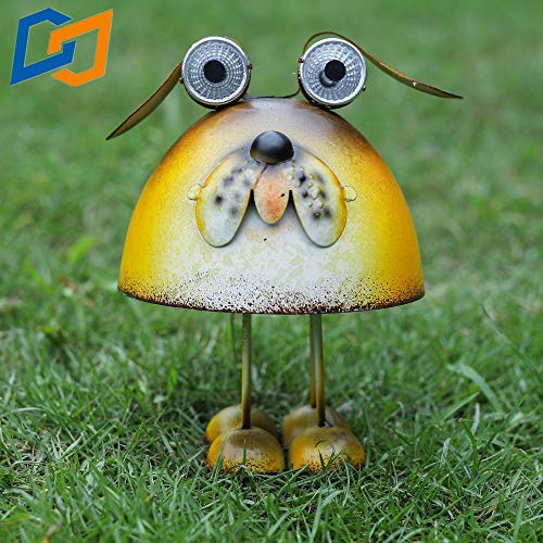 Solar Lighting Lawn Outdoor Metal Art Courtyard Animal Garden Decoration Dog Statue LED Decoration Outdoor Decor Lights for Path Yard Lawn Patio